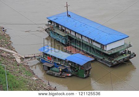 Chongqing, China - June 19, 2015: ship on the river Yangtse in Chongqing, China