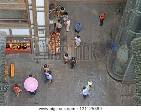 Chongqing, China - June 19, 2015: people walk on pedestrian street in Chongqing, China, view from the top