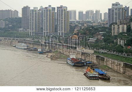 Chongqing, China - June 19, 2015: cityscape of city Chongqing, the southwest of China