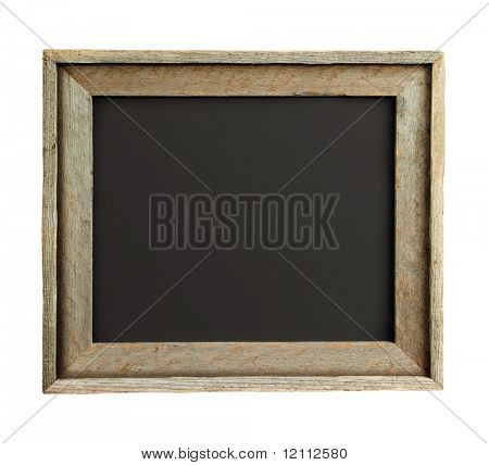 Old wooden frame isolated on white background with path