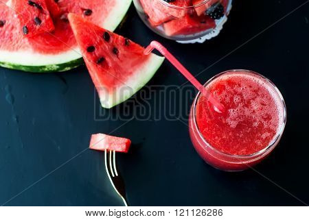 Watermelon, Blackberry Smoothies With Straw And Pieces Of Fruit