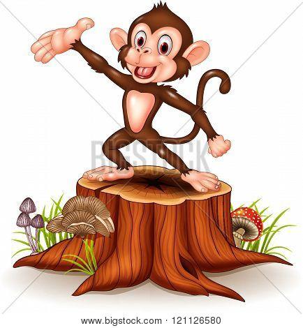 Cartoon Happy monkey presenting on tree stump