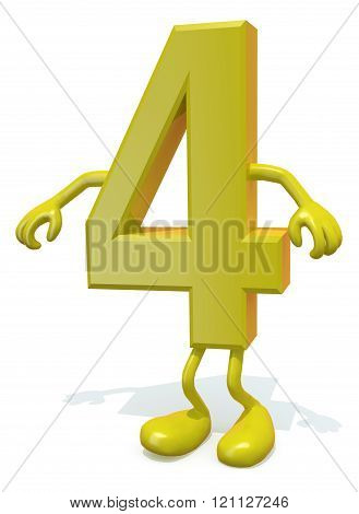 number 4 with arms and legs posing