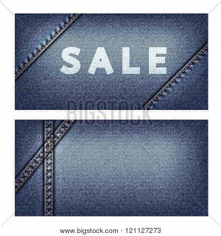 Banners with background of denim texture
