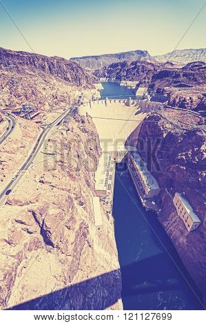 Vintage stylized photo of the Hoover Dam, USA.