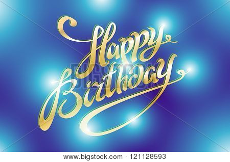 Happy Birthday Retro Vector Illustration With Lights In Background