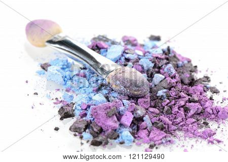 abstract cosmetic, closeup colorful cosmetics on white background