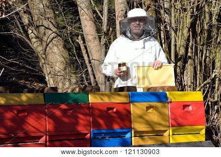 Beekeepers with honey jar and honeycomb before new beehives ** Note: Soft Focus at 100%, best at smaller sizes