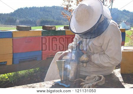 Beekeepers with Smoker in his hives - perspective
