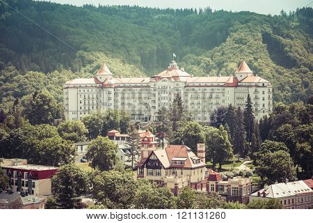 KARLOVY VARY, CZECH REPUBLIC - MAY 15: street view in Karlovy Vary, hotels in Karlovy Vary, Carls