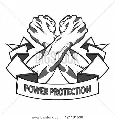 Conceptual crossed fists in protection. Vector illustration in black and white  style.