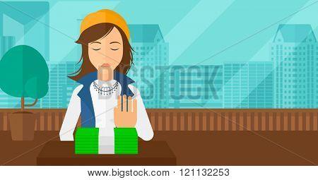 Woman refusing bribe.