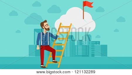 Man climbing the ladder.