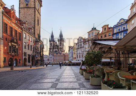 PRAGUE - MAY 15, 2015: Old Town Hall with Astronomical Clock, prague city centre in the morning, empty main square in prague, Czech Republic, Europe