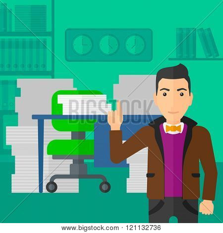 Businessman pointing up with his forefinger.