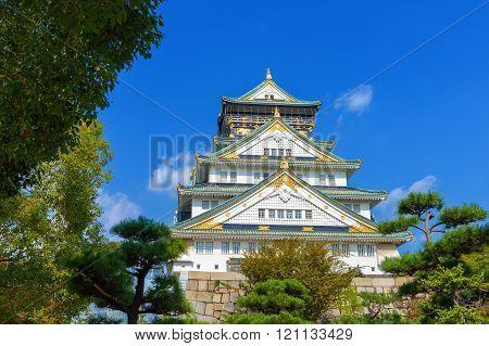 Osaka Castle in Osaka, Japan. Osaka Castle is a Japanese castle.