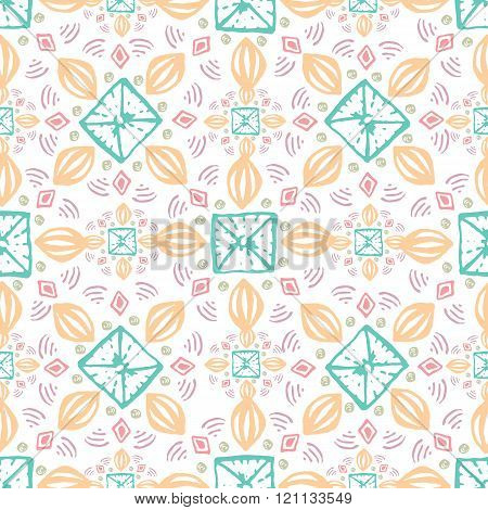 Seamless geometric pattern. Geometric hand drawn pattern in tribal Navajo style. Geometric pattern a