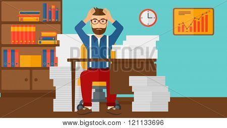 Despair man sitting in office.