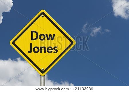 Yellow Warning Dow Jones Highway Road Sign