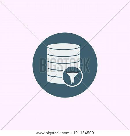 Database-filter Icon, On Blue Circle Background, White Outline