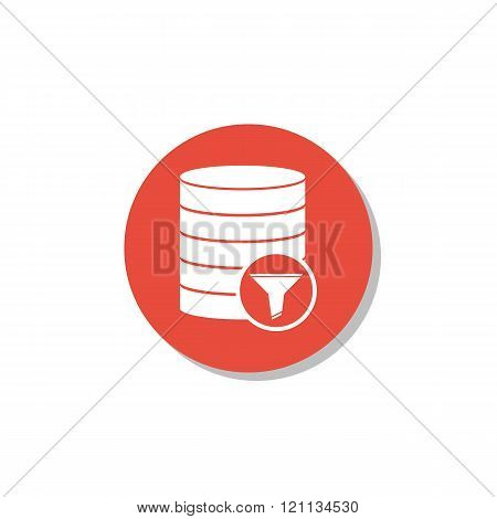 Database-filter Icon, On White Background, Red Circle Border, White Outline