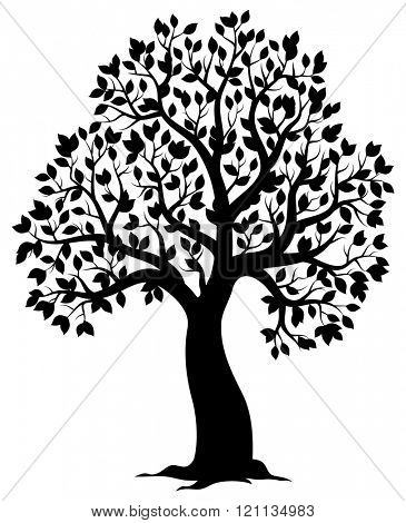 Silhouette of leafy tree theme 3 - eps10 vector illustration.