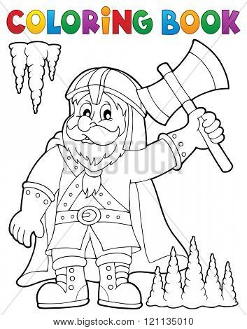 Coloring book dwarf warrior theme 1 - eps10 vector illustration.
