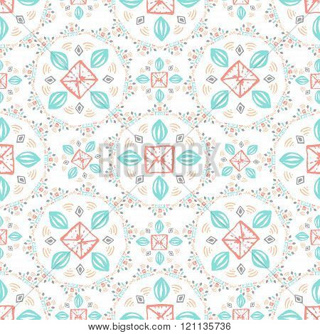 Seamless geometric pattern. Geometric hand drawn pattern in tribal Navajo style. Geometric pattern a