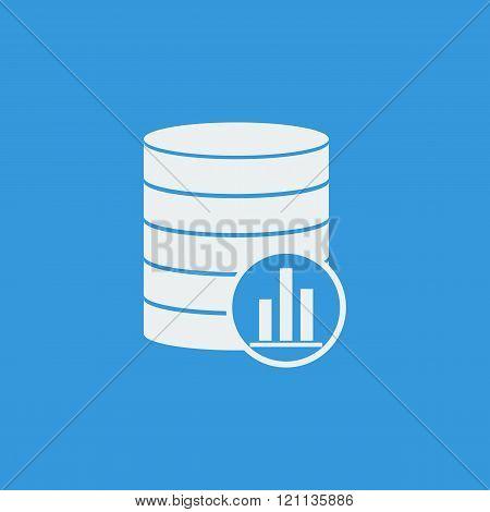 Database-stats Icon, On Blue Background, White Outline, Large Size Symbol