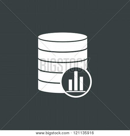 Database-stats Icon, On Dark Background, White Outline, Large Size Symbol
