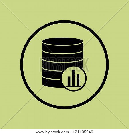 Database-stats Icon, On Green Background, Circle Border, Dark Outline