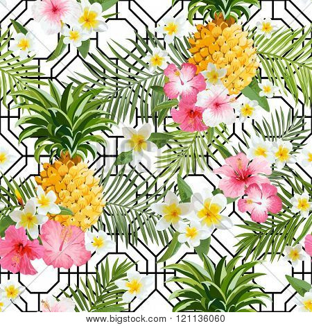 Pineapples and Tropical Flowers Geometry Background -Vintage Seamless Pattern - in vector