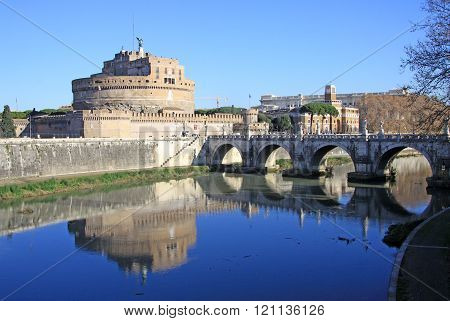 Rome, Italy - December 20, 2012: Castel Sant Angelo And Tiber River. Rome, Italy
