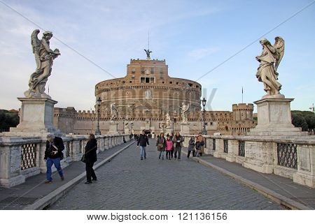 Rome, Italy - December 20, 2012:bridge Of Castel Sant'angelo In Rome, Italy