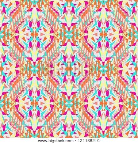 Vector Seamless Texture. Tribal Geometric Pattern. Electro Boho Color Trend