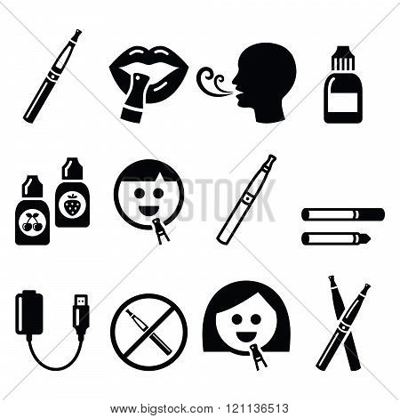 Electronic cigarette, e-cigarette and accessories icons