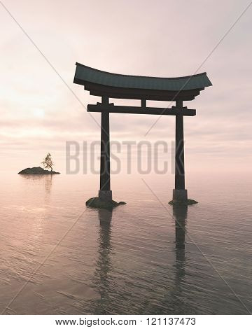 Japanese Floating Torii Gate at a Shinto Shrine, Evening