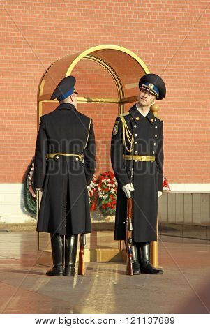 Moscow, Russia - April 23, 2011: Change Of The Guard Of Honor At The Tomb Of The Unknown Soldier At