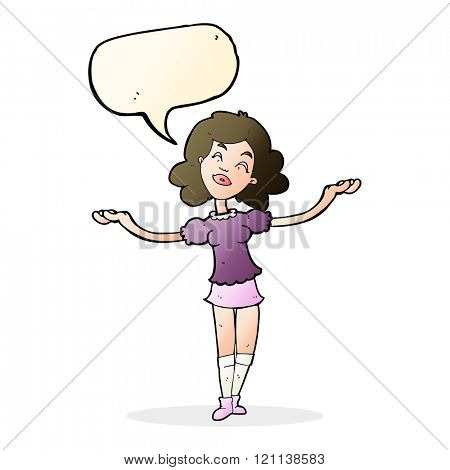 cartoon woman taking praise with speech bubble
