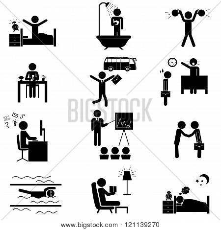 Office Routine Life Icons