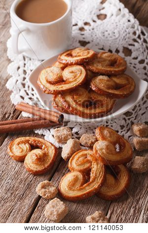 Cookies Palmiers And Coffee With Milk Close-up, Vertical
