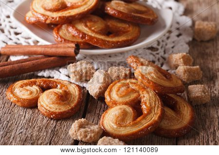 Tasty Cookies Palmiers With Sugar And Cinnamon Close-up, Horizontal