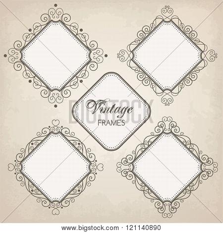Set Of Vintage Calligraphy Frames
