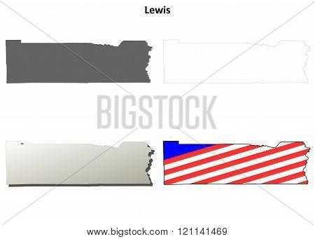 Lewis County, Washington outline map set