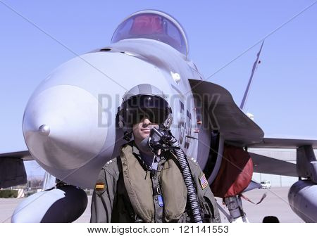 Military Fighter Pilot And Jet