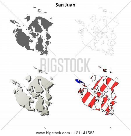 San Juan County, Washington outline map set