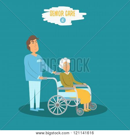 Vector Care senior Male doctor helping senior grandmother on walk. Careing senior nurse at hospital.
