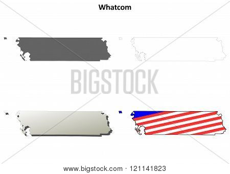 Whatcom County, Washington outline map set