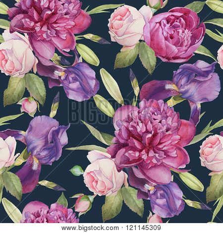 Floral seamless pattern with hand drawn watercolor peonies, roses and iris