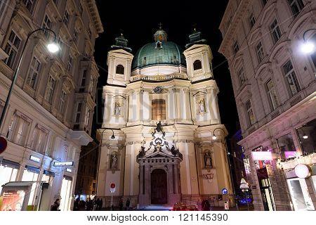 VIENNA, AUSTRIA - NOVEMBER 2015: Saint Peters Church at night on 20th of November 2015 in Vienna